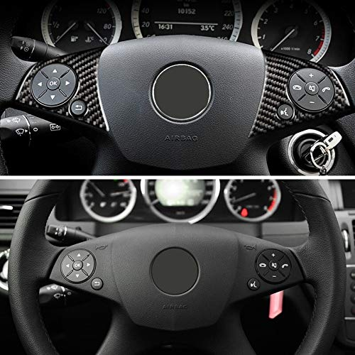 Prawing Directivo de Fibra de Carbono del Coche Panel del Interruptor de la Rueda Etiqueta engomada del botón Recortar for Mercedes-Benz Clase C W204 2007 2008 2009 2010