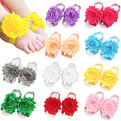 Elesa Miracle Toddler Baby Girl's Barefoot Sandals Rhinstone Pearl Baby Sandals Value Set (10 Pairs- Shabby Flower)