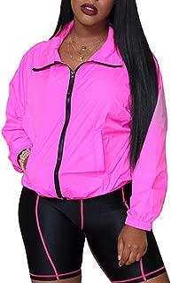 BSC007 Women's Lightweight Jacket Windbreaker Casual Sports Outerwear Coat with Pocket