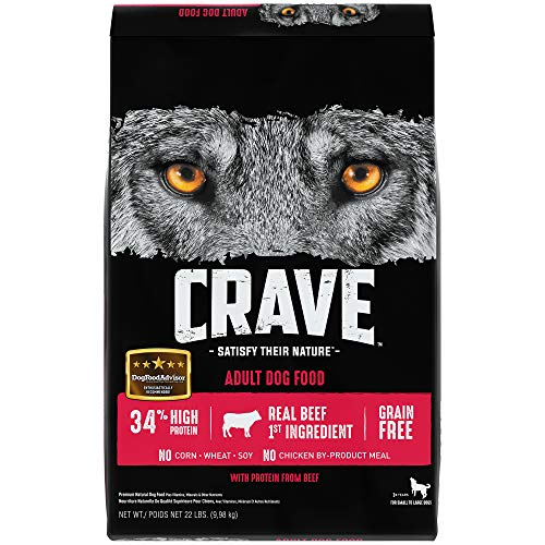 Crave Grain Free Beef Protein Dry Adult Dog Food, 22 Pound Bag