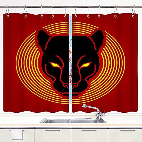 BOKEKANG Cortinas para Ventana de Cocina,Fondo de Leopardo de Cabeza de Pantera Negra,Cortinas Cortas con Decoración de Ganchos para Baño,Paquete de 2,140x100cm