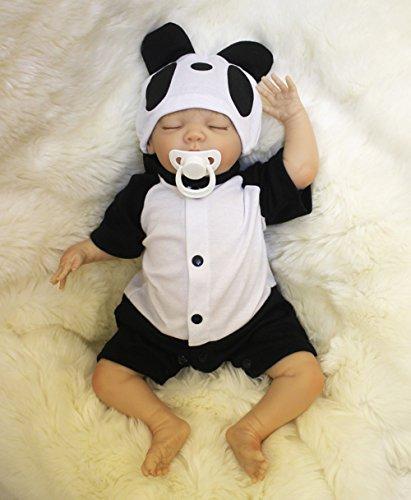 OUBL 18pulgadas 45 cm Reborn Bebe Muñeca niño Silicona Vinilo Realista Baby Doll Boy con los Ojos Cerrados Dormir Toddler Magnetismo Juguetes