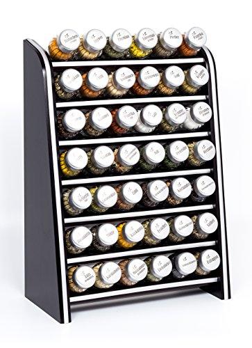 Gald Gewürzregal, Küchenregal für Gewürze und Kräuter, 42 Gläser, Holz, Venge (schwarz)/matt, 31.5 x 47 x 17 cm