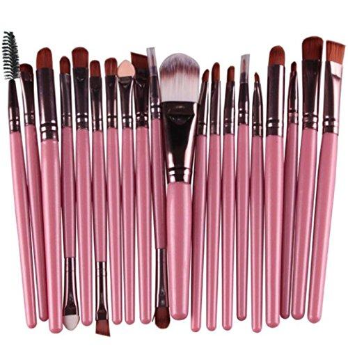 Maquillaje Cepillo,Sonnena ??? 20 Piezas Pincel de Maquillaje Herramientas Set-up Aseo Kit de Lana Maquillaje Cepillo Conjunto Moda Femenina Belleza & Moda (20 PCs, Rosa)