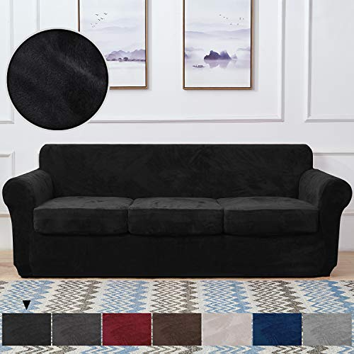 RHF Velvet Couch Cover 4 Piece Sofa Cover Sofa Slipcover-Couch Covers for 3 Cushion Couch,3 Separate Cushion Cover, Sofa Covers for 3 Cushion Couch,Couch Covers for Dogs(Sofa,Black)