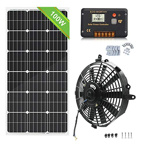 """1 Set of 12"""" Compact Window Fan DC Vent Fan with Solar Panel Kit, 6 Blades BEST QUALITY AND DURABILITY"""