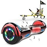 MARKBOARD Scooter autoequilibrado, Scooter autoequilibrado con Hoverkart 6.5'Hoverboards para niños, Luces LED de Ruedas Coloridas incorporadas, con Asiento de Kart Adecuado para niños y Adolescentes