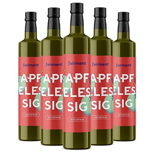 Fairment Apfelessig - bio, naturtrüb, mit der Essig-Mutter, unpasteurisiert, lebendig und ungefiltert - Apple Cider Vinegar aus deutscher Produktion (3 l (5er Pack))