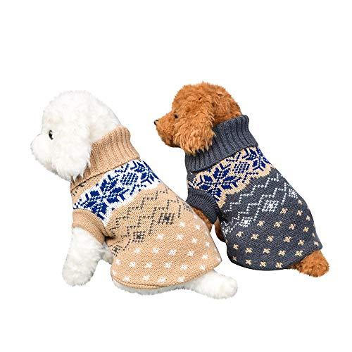 Fenverk_Haustier Hund Katze Winter Warm Rollkragen Sweatshirt Mantel KostüM Bekleidung Jacke Kleider Hoodies Jumper Zum HüNdchen Klein Mittel Groß Hunde Overall Kleidung(B-Grau,M)