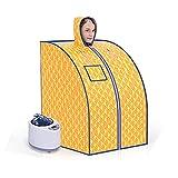 Sauna de Vapor Personal portátil SPA Familiar, Ajuste de Temperatura de 9 Niveles, Almacenamiento Plegable, Incluido Control Remoto, Silla Plegable, Alfombra (Color : Gold)