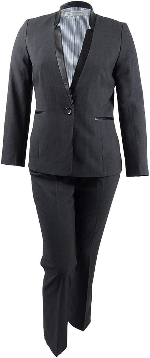 TAHARI ASL Women's Plus Size Faux-Leather-Trim Pantsuit