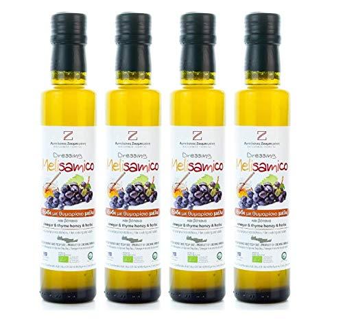 4x 250ml Weinessig mit kretischem Thymianhonig 4 Flaschen Wein Essig versetzt mit Thymian Honig 1 Liter gesamt + 10ml Olivenölsachet zum testen - Kreta Petimezi roter Essig Melisamico