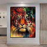 yaoxingfu Sin Marco Abstract Colorful Tiger Canvas ng Impermeable Wall Art Modern ng para Decoraciones de Sala de Estar Sin Marco 30x45cm