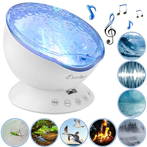 Exelme Night Light Projector Ocean Wave - Sound Machine with Soothing Nature Noise and Relaxing...