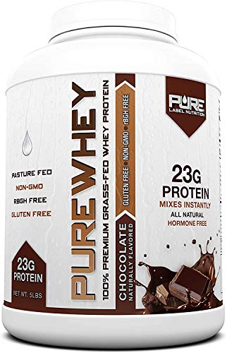 Pure Label Nutrition 100% USA Grass-Fed Whey Protein Concentrate, 5lb Chocolate, Non-GMO, rBGH Free, Soy Free, Gluten Free, Low Carbs and Low Fat, No Sugar Added, Keto Friendly