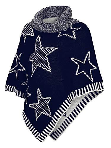 Danaest Kinder Mädchen Strick Poncho Rollkragen Pullover Cape Umhang Winter Sterne (567) (152/12 Jahre, Blau)