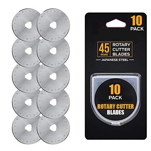 Cuchillas de corte rotativas de 45 mm – Compatible con Olfa/DAFA/Fiskars/Truecut cortador giratorio de repuesto para acolchar álbumes de recortes, costura y manualidades, (10 unidades)