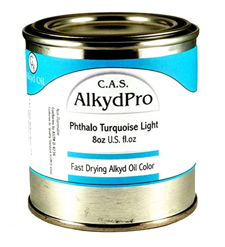 C.A.S. Paints AlkydPro Fast-Drying Oil Color Paint Can, 8-Ounce, Phthalo Turquoise Light