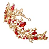Frcolor Gold Wedding Tiara, Rhinestones Bridal Flower Pageant Prom Queen Crown Head Band (Red)