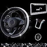 Dyshuai Fuzzy Bling Car Steering Wheel Cover Rhinestone Wheel Cover for Women - Universal Fit 15 Inch Bling Car License Plate Bling Car Mobile Holder Car Decor Set 4 Packs (Black)