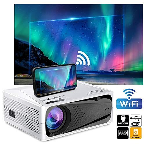 GJZhuan El proyector 1080p Full HD 4K WiFi Bluetooth Inteligente Android Pantalla de proyección de teléfono USB C600 Proyector LED 200ANSI lúmenes del proyector de película
