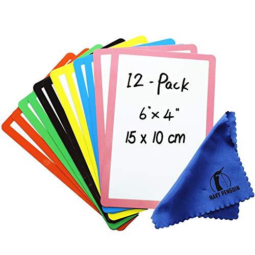 Iman Pizarra para Nevera - Pack 12 - 15x10cm Etiquetas Notas Pizarra Blanca Magnética - Pequeña Etiquetas Tiras Magnéticas para Cocina, Hogar, Oficina y Clase
