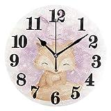 gardenia store Classic Art - Reloj de pared redondo con diseño de zorro y conejo, funciona con pilas