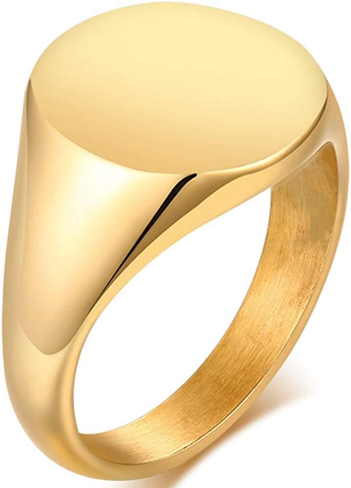 Stainless Steel Classical Simple Plain Round Signet Style Pinky Wedding Statement Promise Anniversary Ring