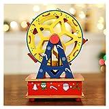 ZRJ Hübsche Dekorationen Spieluhr Pferd Basteln Trojan Geburtstag Riesenrad Babyzimmer Holz Weihnachten Spieluhr Zuhause Kinder Geschenk 1 Stück Mode (Farbe: gelber Riesenrad)