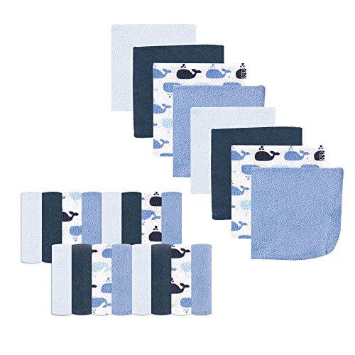 Luvable Friends Unisex Baby Super Soft Bundle Washcloths, Whale, One Size