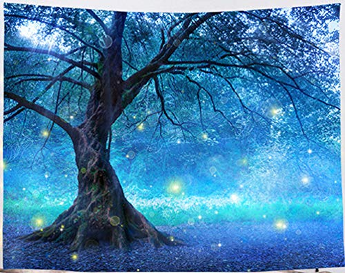 Amiiba Fantasy Tree Wall Tapestry Magical Forest Tapestry Wall Hanging Psychedelic Landscape Home Decoration for Bedroom Living Room (Tree, L - 79'x59')