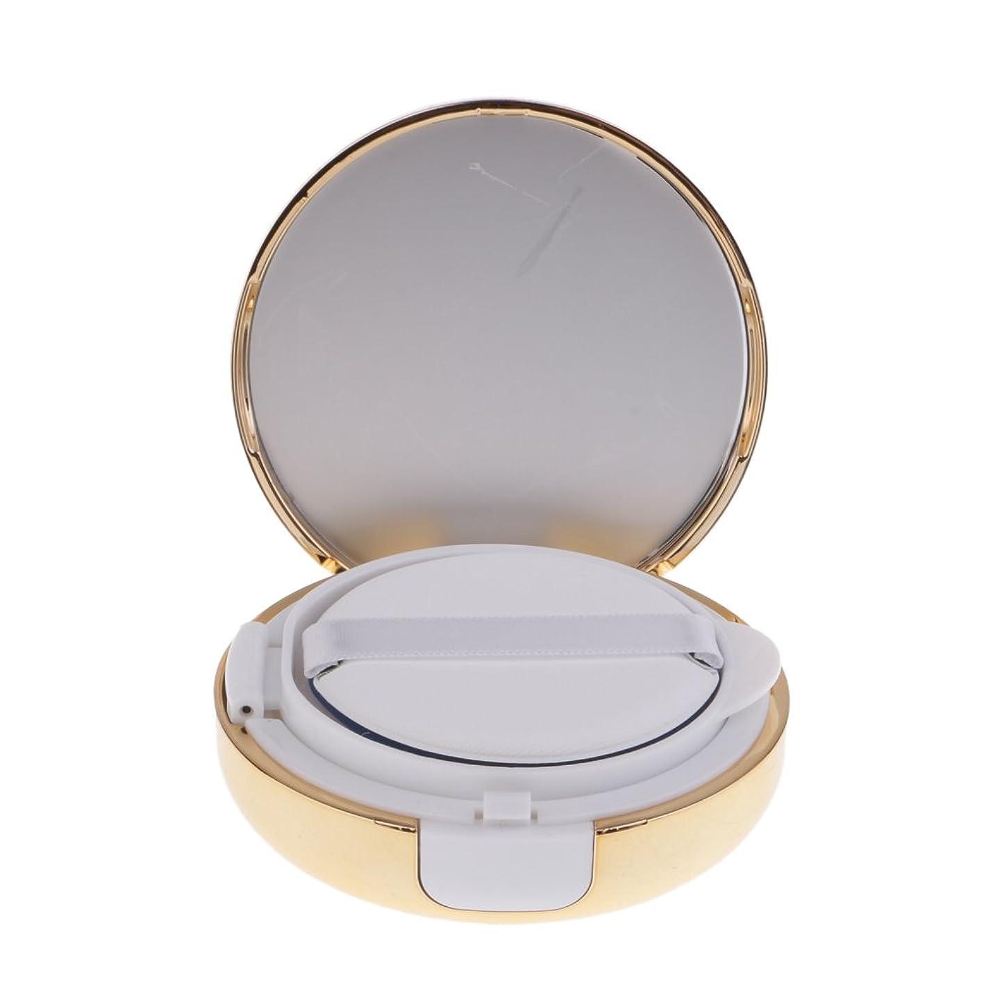 驚いたことにスペードシンプルさKesoto メイクアップ 空パウダーコンテナ ファンデーションケース エアクッション パフ BBクリーム 詰替え 化粧品 DIY プラスチック製 2色選べる - ゴールド