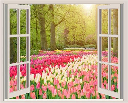 Foto op canvas, bedrukt, tuin, landschap, buiten op het raam, decoratie voor thuis, wand, foto, voor woonkamer, 40 x 50 cm