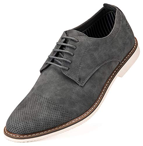 Mio Marino Mens Oxford Casual Dress Shoe – Gray – US-10.5D(M) | UK-43-44 | EU-10