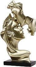 CLISPEED Couple Figurines Gold Statue Kissing Lover Resin Sculpture Modern Art Desktop Figure Decor Table Ornament for Hom...