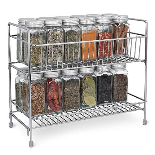 Navaris Estante Plegable Organizador de Metal - Especiero para recipientes condimentos tarros - Estantería de Hierro Cromado desarmable con 2 Niveles