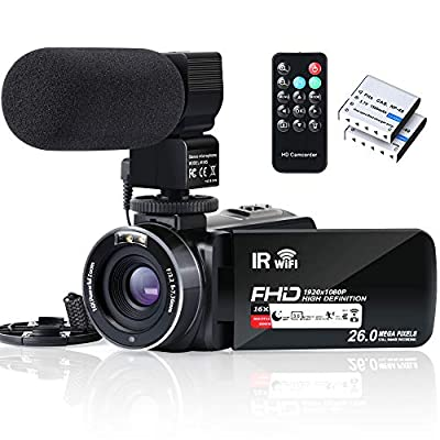 Video Camera Camcorder WiFi IR Night Vision FHD 1080P 30FPS YouTube Vlogging Camera Recorder 26MP 3.0'' Touch Screen 16X Digital Zoom Camcorder with Microphone,Remote and 2 Batteries by ALSONE