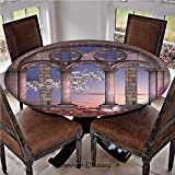 "Elastic Edged Polyester Fitted Table Cover,Ancient Colonnade in Secret Garden with Flowers at Sunset Enchanted Forest,Fits up 45""-56"" Diameter Tables,The Ultimate Protection for Your Table,Grey Blue L"