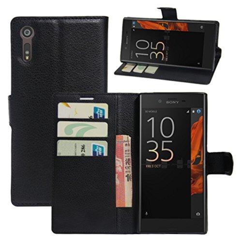 HualuBro Sony Xperia XZ Hülle, Sony Xperia XZs Hülle, Premium PU Leder Stoßfest Klapphülle Schutzhülle HandyHülle Handytasche Wallet Flip Hülle Cover für Sony Xperia XZ Tasche (Schwarz)