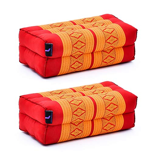 Leewadee Bloque De Yoga Juego de 2 Piezas Almohada Pilates Ladrillo Yoga Cojín De Meditación Orgánico Naturalmente Ecológico, 35x18x12 cm, Capok, Naranjo Rojo