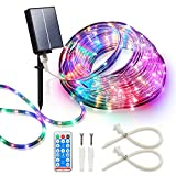 Solar Led Rope Lights Waterproof,Led Rope Lights Outdoor,72FT 200LED Led Fairy Lights Outdoor,PVC Tube Solar Lights Outdoor Decorative with 8 Mode Remote for Christmas Wedding Party Garden Yard