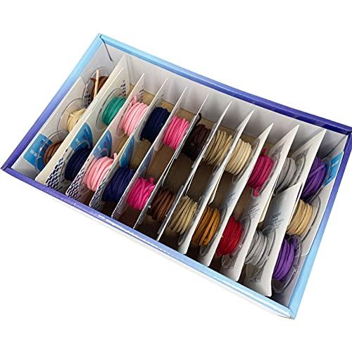 Rollos de Antelina 2x4 mm x 4 metros para Pulsera y Colgantes, Manualidad y Artesania. Cordón Joyería para DIY, Collar y Abalorios, 24 Piezas, 12 Colores Surtidos