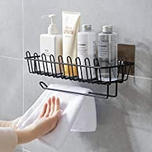 Simxen Self Adhesive Wall Hanging Shelves for Bathroom and Kitchen with Towel and Tissue Rack Stand, Wall Spice Rack Stand Stainless Steel Shower Caddy for Bathroom Storage Organizer