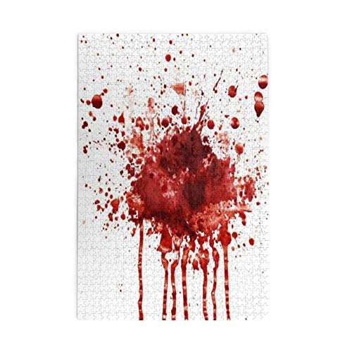 For Adult Jigsaw Puzzles Funny Splattered Blood Stain Horror Halloween 1000 Pieces Wooden Puzzles For Birthday Toy Causal Jigsaws Puzzle