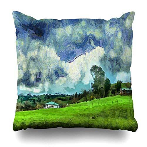 Mesllings Funda de almohada Vincent Blue Van House Meadow Dense Cielo Nublado en la Naturaleza Gogh Parks Agriculture Clouds Cottage Design Funda de almohada decorativa cuadrada, tamaño 45,7 x 45,7 cm, decoración del hogar