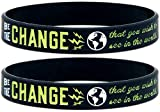 (10-Pack)'Be The Change That You Wish to See in The World' - Inspirational Awareness Wristbands for Any Cause - Wholesale Bulk Pack of 10 Silicone Bracelets in Unisex Adult Size