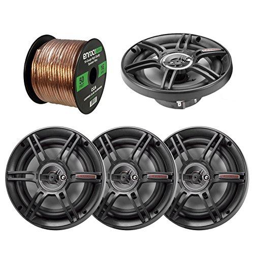 """2 x Crunch CS65CXS 6.5"""" 3-Way Black Car Speakers (2 Pairs), Enrock Audio 16-Gauge 50 Foot Speaker Wire"""