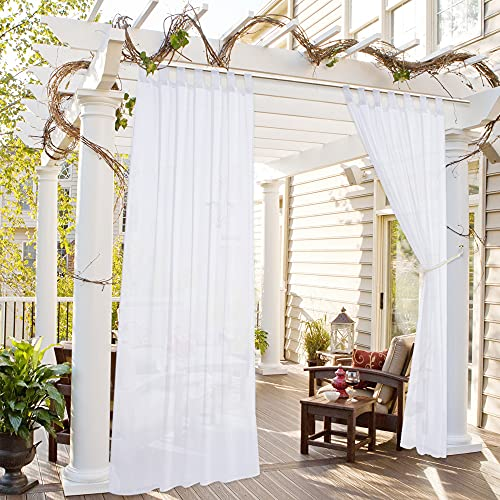 """Drewin Outdoor Sheer Curtains Waterproof for Patio Detachable Tab Top Airy Voile Drapes with 1 Tassel Tieback Rope Semi Sheer Panel for Gazebo Porch Pergola, 1 Pack 52""""Wx96""""L, Off White"""