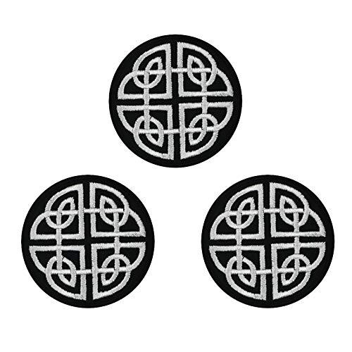 Black White Celtic Cross Irish Embroidered Iron on sew on Patches Badge for Biker Vest