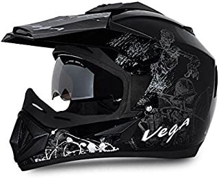 Vega Off Road OR-D/V-SKT-KS_L Sketch Full Face Graphic Helmet (Black and Silver, L)